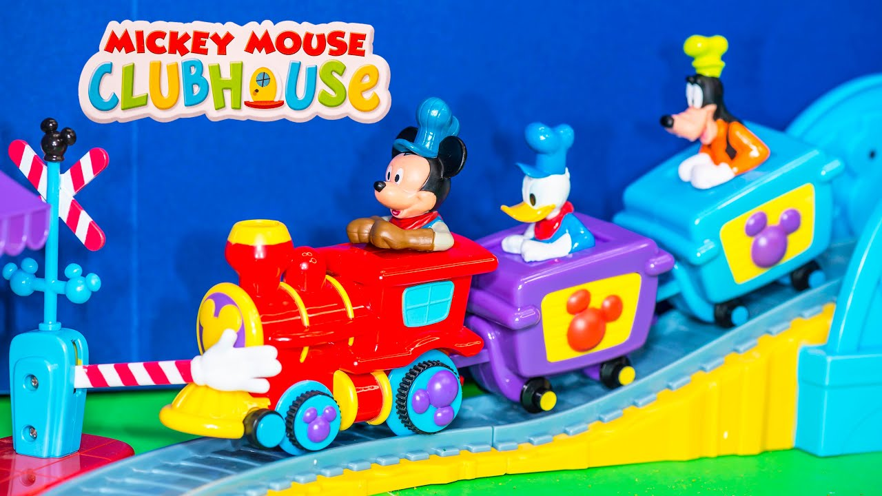 Unboxing the mickey mouse clubhouse train and track for Disney mickey mouse motorized choo choo train with tracks