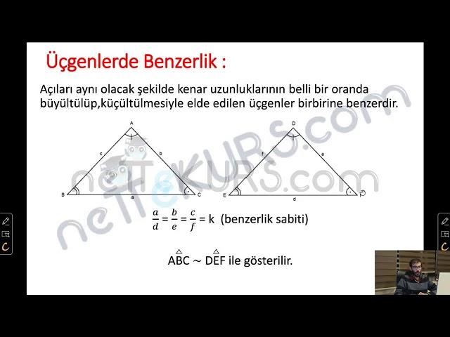 YÖS Geometri - Üçgende Benzerlik / nettekurs.com - Uzaktan Eğitim YÖS Dershanesi
