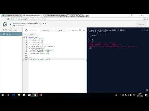 Python Programming - Quadratic Equation Solver Part 1