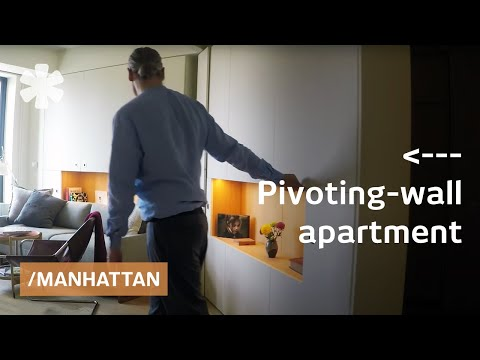 Pivoting wall adds/subtracts rooms in NYC modular micro-flat