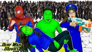 Nerf War Movies: Spiderman X Warriors Nerf Guns Fight Criminal Group Rescue She- Hulk in Danger