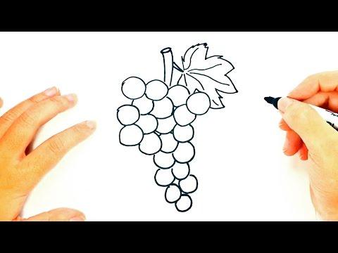Cómo dibujar un Racimo de Uvas paso a paso | Dibujo fácil de Racimo de Uvas