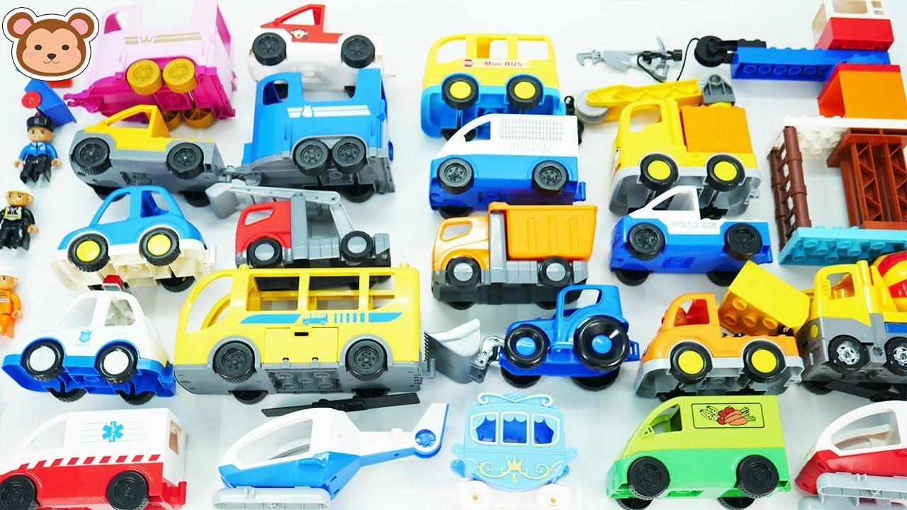 Apprendre le nom des vehicules en anglais pour enfant, camion de pompiers, voiture de police