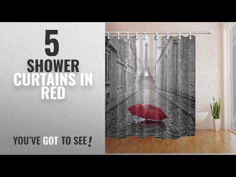 Top 10 Shower Curtains In Red [2018]: NYMB Paris France Decor Red Umbrella in Rain Eiffel Tower