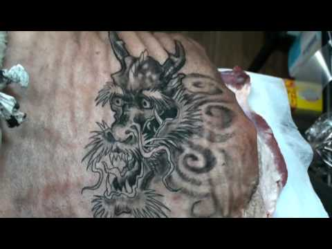 Jay robinson pt2 first tattoo on pig flesh youtube for Pig skin tattoo