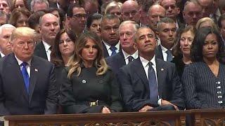 Donald Trump's Awkward Entrance At George H. W. Bush's Funeral