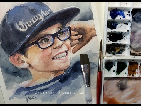 Watercolor Portrait Boy with Cap demo painting by Ch.Karron