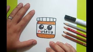 Como dibujar Nutella Kawaii paso a paso 2 | How to draw Nutella Kawaii 2