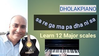 learn to play piano guitar  major scales