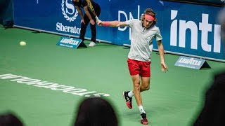 Hot Shot: Tsitsipas Scrambles, Rips Backhand Passing Shot In Stockholm 2018