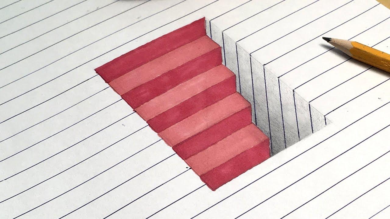 illusion 3d steps optical dirty paper hole mind line trick