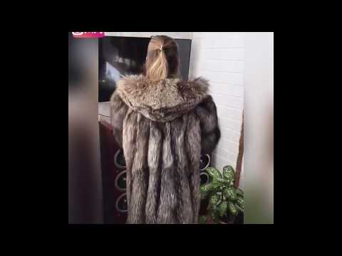 GREAT FUR COAT SILVER FOX HOODIE. Fur jacket fox hood sale shop Fursberry eBay. Furlove fourrure