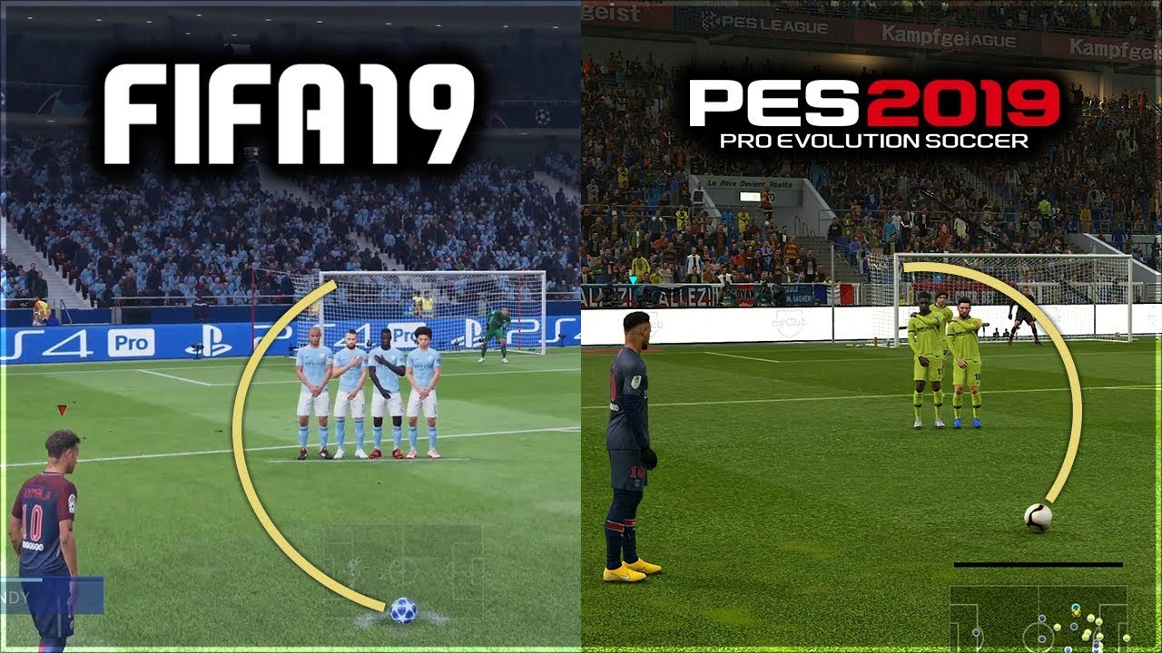 FIFA 19 vs PES 2019 FREE KICKS COMPARISON