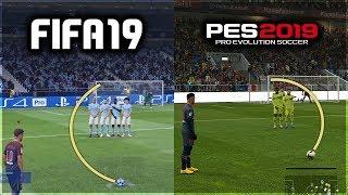 FIFA 19 vs PES 2019 FREE KICKS COMPARISON