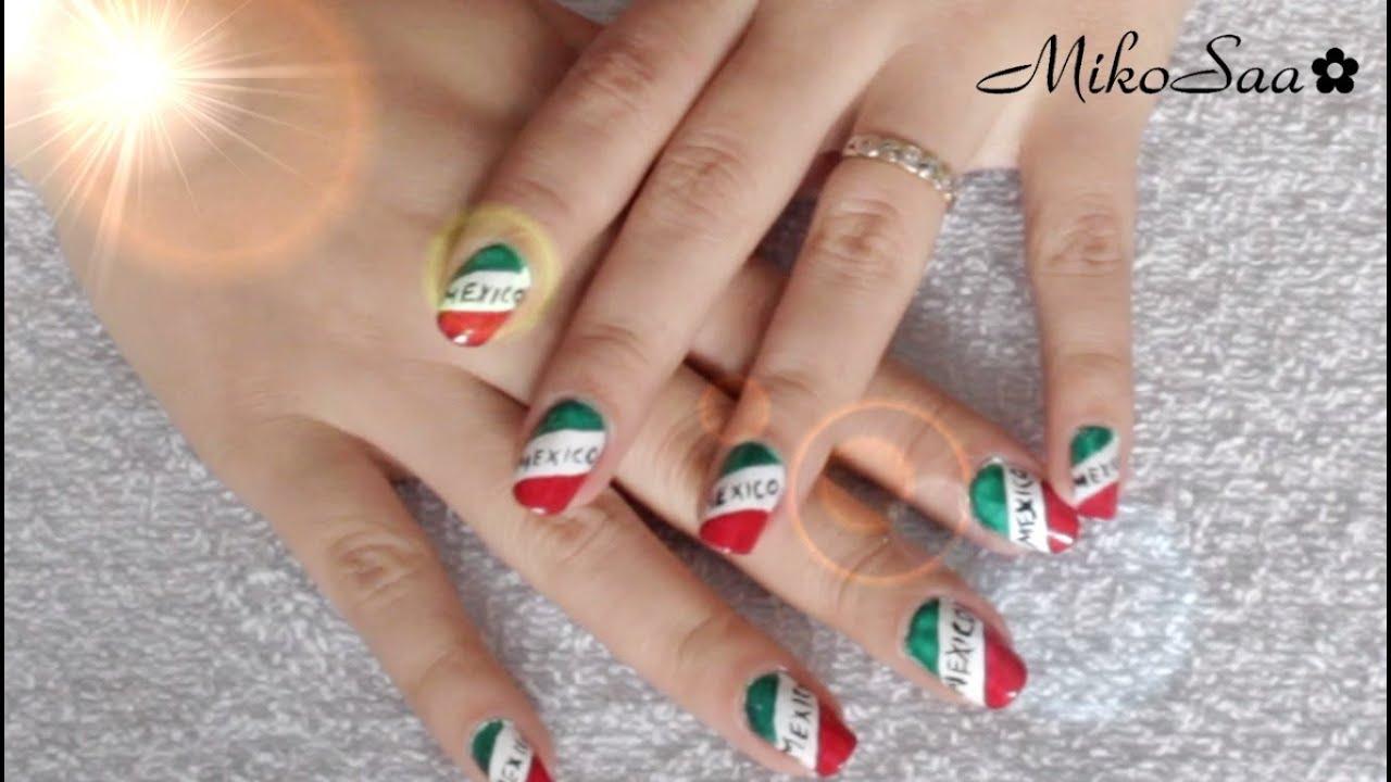 Uñas con los colores de la bandera de México / Nail Art Mexico ...