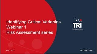 Identifying Critical Variables   Kirsten McAulay
