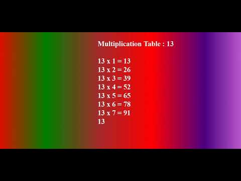 Table Of 13 For Kids   Multiplication 13   Math Multiplication Tables
