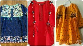 Latest summer casual designer kids outfits collection/fashion designer kurti designs ideas in Eid
