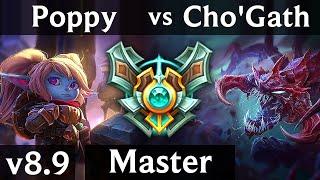 POPPY vs CHO'GATH (TOP) ~ Perfect KDA 8/0/12, Legendary, 600+ games ~ Korea Master ~ Patch 8.9