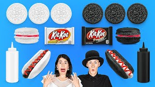 BLACK VS WHITE CHALLENGE! Eating and Buying Everything In 1 Color For 24 Hours By 123 GO! CHALLENGE
