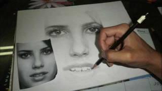 Emma Roberts Portrait Drawing by Jorge Nuñez Vilca