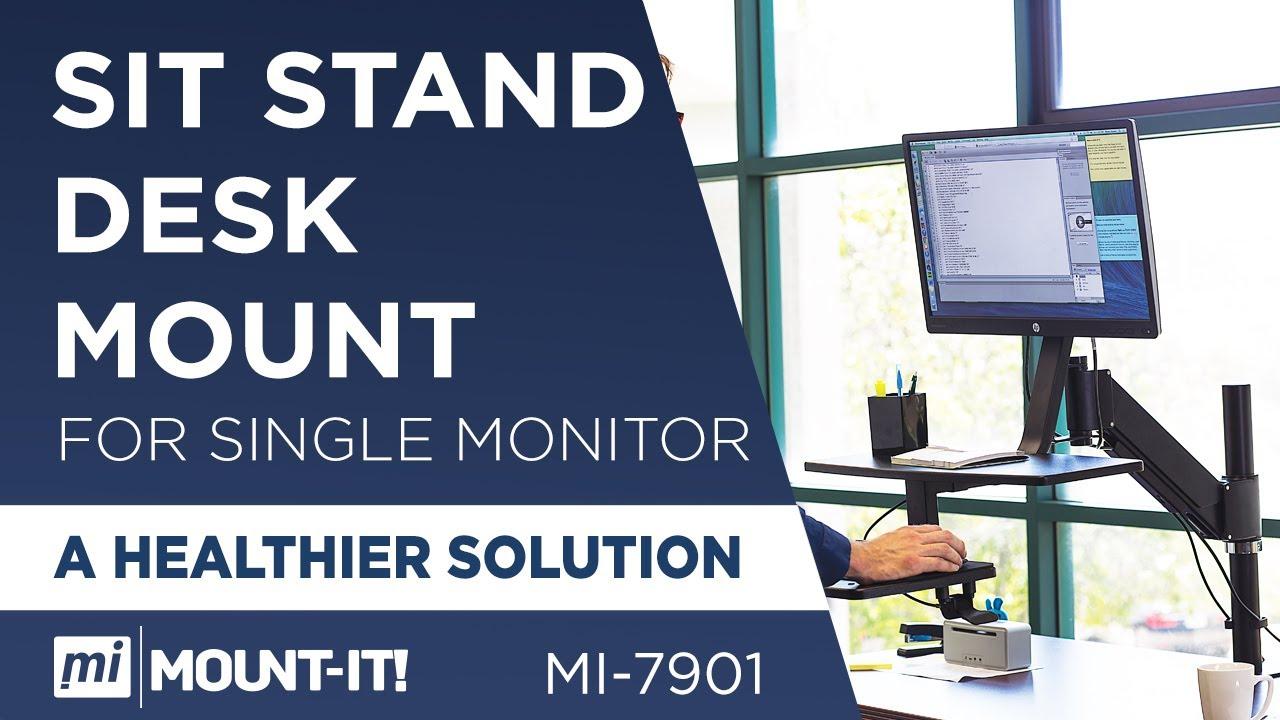 mount it mi 7901 sit stand desk mount for single monitors up to 27 in size ergonomic youtube. Black Bedroom Furniture Sets. Home Design Ideas