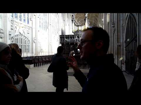 Being shown round King's College Chapel, Cambridge