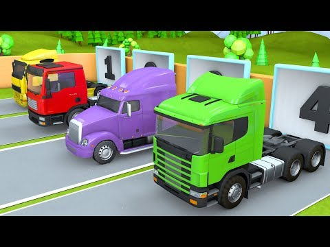 Showing Tractor Trucks and Trailers | Oil Tanker, Сar carrier, Dump Trucks for Kids