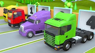 Showing Tractor Trucks and Trailers | Oil Tanker, Сar carrier, Dump Trucks for Kids thumbnail