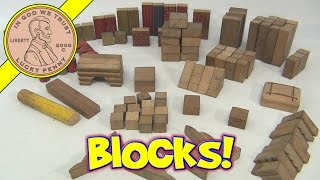 Vintage Wooden Primatives Toy Building Blocks Set