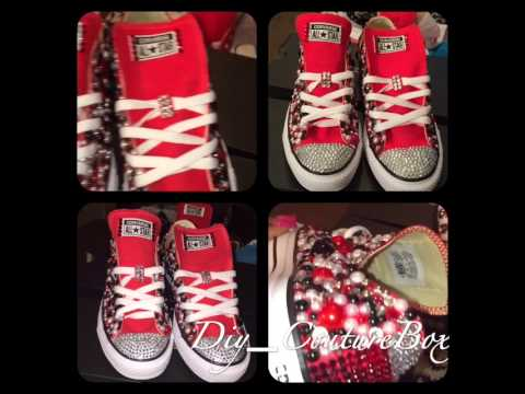 DIY CLASSIC PEARL ADDICTION BLING CONVERSE! By THE COUTURE BOX - YouTube 167ecdf7a