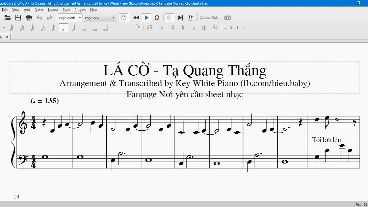 Lá cờ piano sheet free download