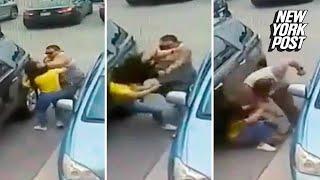Gigantic goon beats woman over 'stolen' parking spot | New York Post
