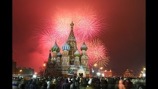 Moscow, Russia Fireworks 2019 New Year Celebration I HD