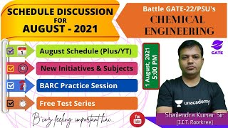 Schedule Discussion of August Chemical Engineering I Announcement Session   By Planet GATE Team