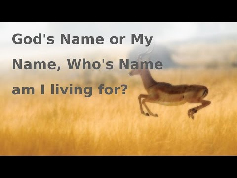 God's Name or My Name, Who's Name am I Living for?