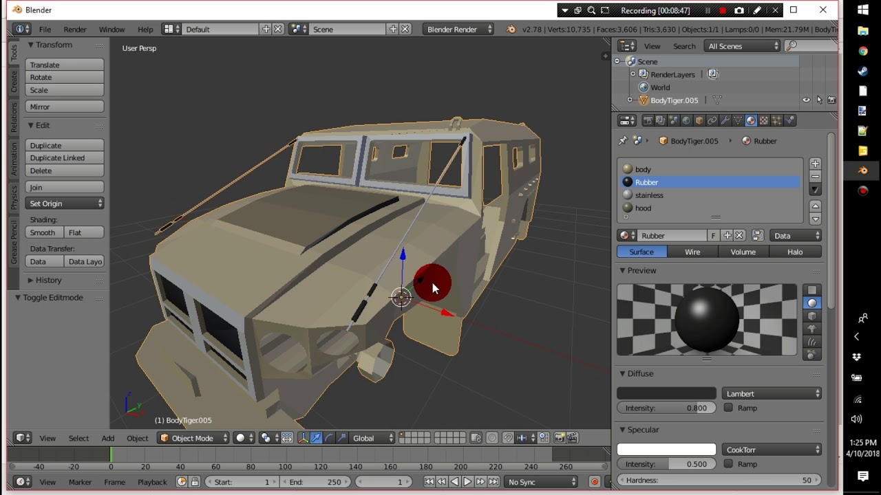 Texturing in blender Fs17 EOD Humvee Mine Truck Mod by LAMBO MODS