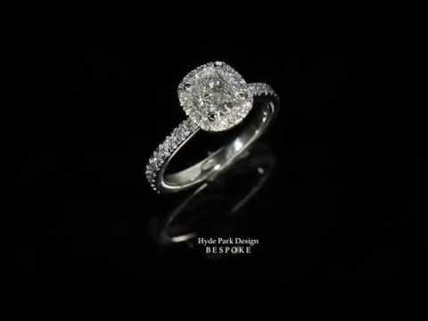 DIAMOND Engagement Ring with a 1.20 CARAT Cushion Cut Diamond  - Made in London