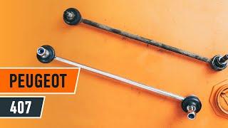 Cómo y cuándo cambiar Bieleta de barra estabilizadora delantera y trasera PEUGEOT 407 (6D_): vídeo tutorial