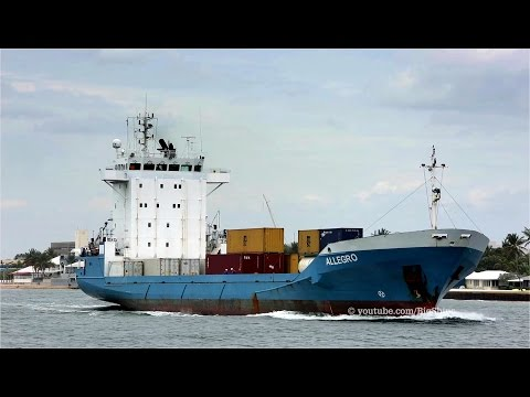 Container Ship ALLEGRO leaves Port Everglades