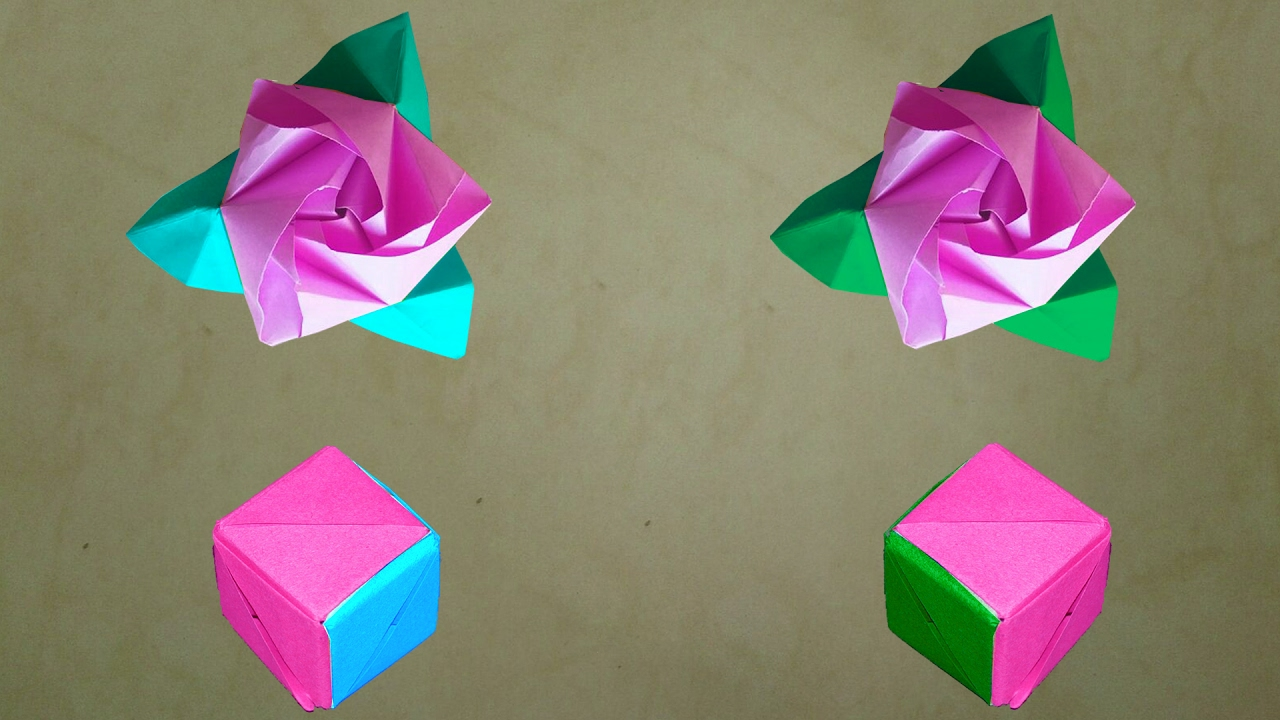 How to make an origami magic rose cube diy origami rose for How to make a paper rose origami