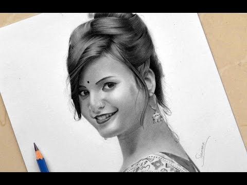 Drawing young girl - pencil on paper   Time Lapse   Realistic Drawing