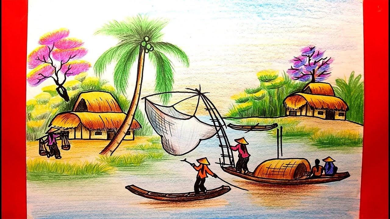 Dạy Vẽ Tranh Phong Cảnh – Cách vẽ tranh phong cảnh – Vẽ tranh đồng quê – Học vẽ tranh