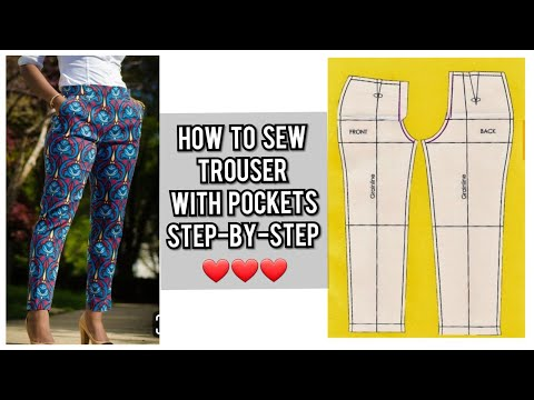 HOW TO CUT AND SEW A FEMALE TROUSER WITH POCKETS | PANT TUTORIAL | DIY