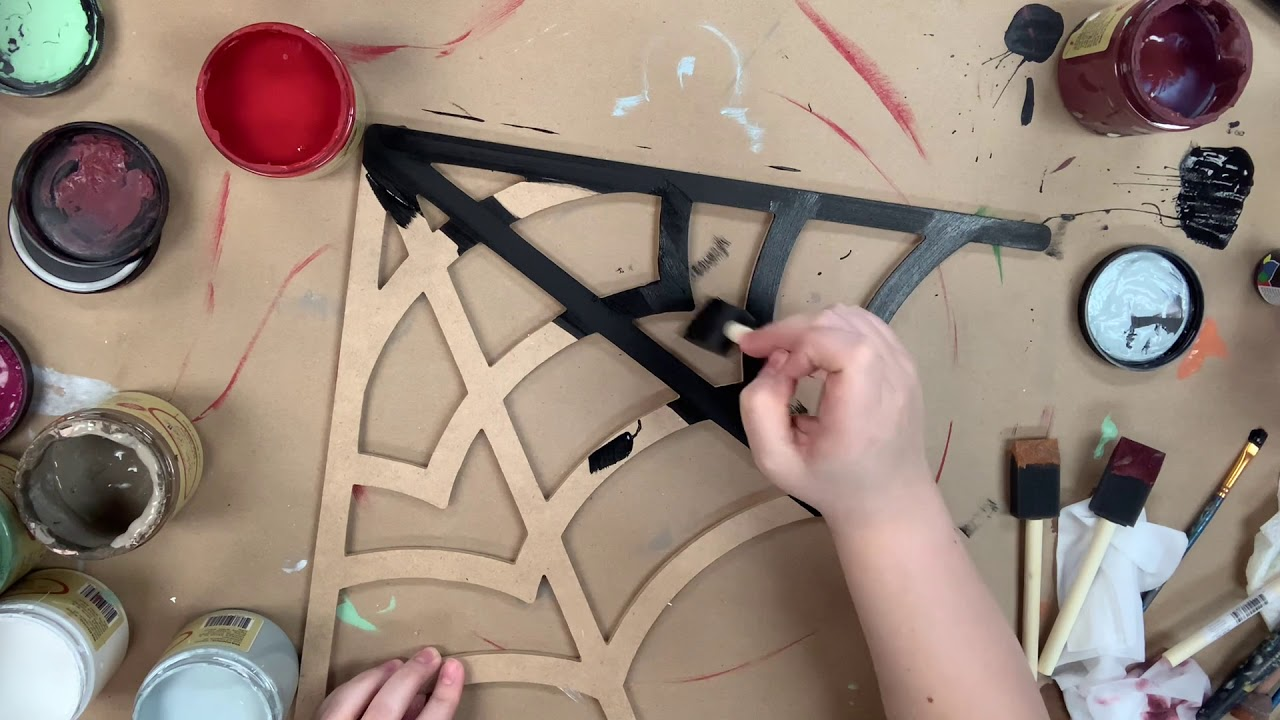 Corner Spiderweb Halloween Shape Painting Tutorial s7x3