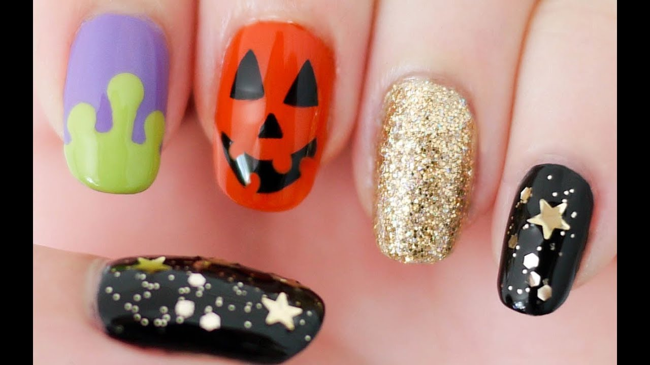 halloween nails freehand youtube. Black Bedroom Furniture Sets. Home Design Ideas