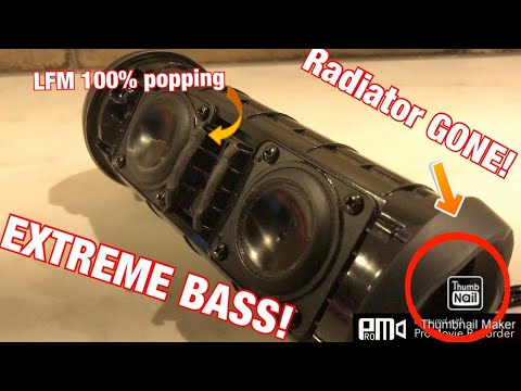 JBL Flip 4 Extreme Near Blowout Bass Test! (LFM 100%) DSP OFF!