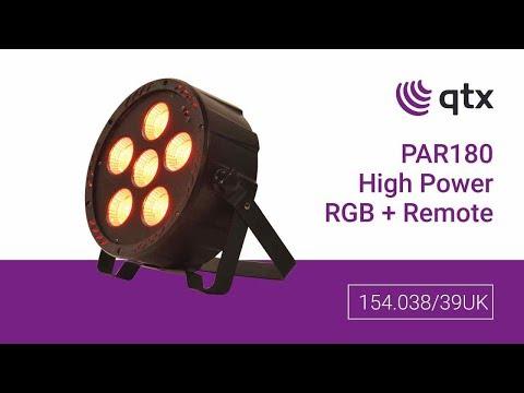 QTX PAR-180 High Power RGB PAR Light With IR Remote And UV