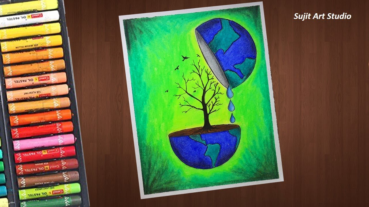 Save trees save earth save water drawing with oil pastels for beginners step by step