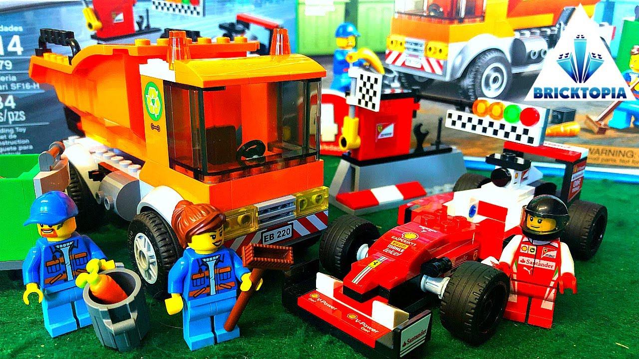 LEGO Speed Build Bricktopia Scuderia Ferrari SF16-H and Lego City Garbage Truck